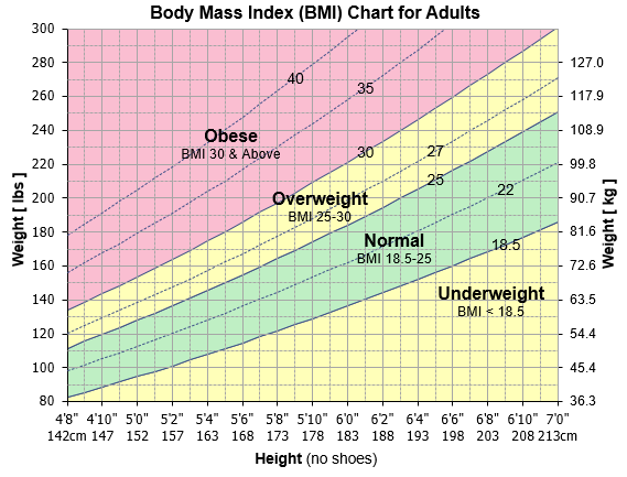 Body mask index chart for adult